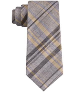Calvin Klein Men's Tri Contrast Plaid Skinny Tie