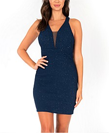 Juniors' Lace-Back Glitter Bodycon Dress