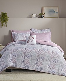 Nisha 8 Piece Zebra Printed Queen Comforter Set
