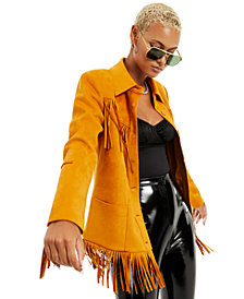 Danielle Bernstein Faux-Suede Fringe Jacket, Created for Macy's