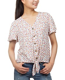 Juniors' Floral-Print Button-Detail Tie-Front Top