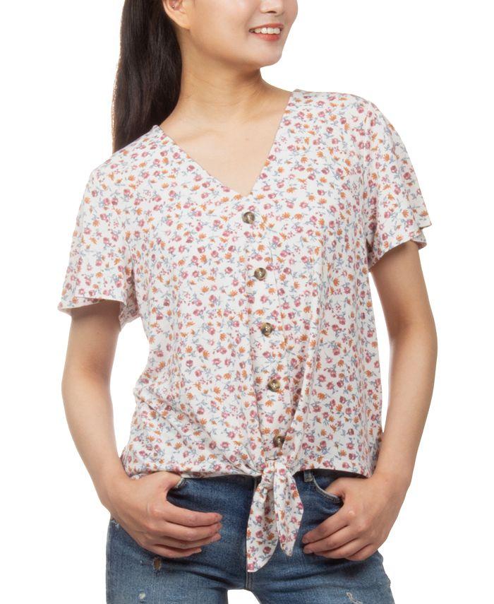 Hippie Rose - Juniors' Floral-Print Button-Detail Tie-Front Top
