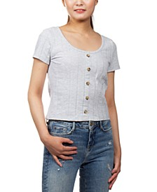 Juniors' Ribbed-Knit Button-Detail Cropped Top