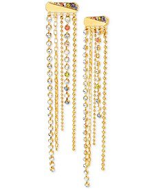 Gold-Tone Multicolor Crystal Chain-Fringe Statement Earrings