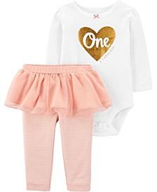 Baby Girl 2-Pc. 1st Birthday Bodysuit & Tutu Pant Set