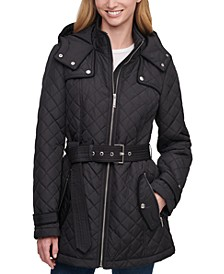 Petite Hooded Belted Water-Resistant Quilted Coat