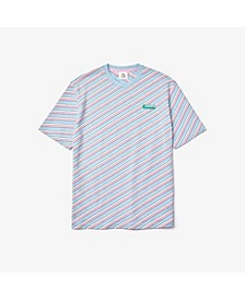 Men's LIVE Loose Fit Short Sleeve Crew Neck Jersey T-shirt with Diagonal Logo Stripes