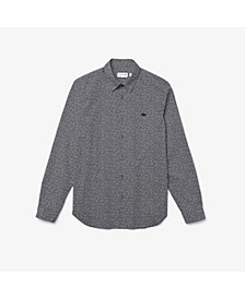 Men's Slim Fit Long Sleeve Shirt with All-Over Mini Tennis Ball Print