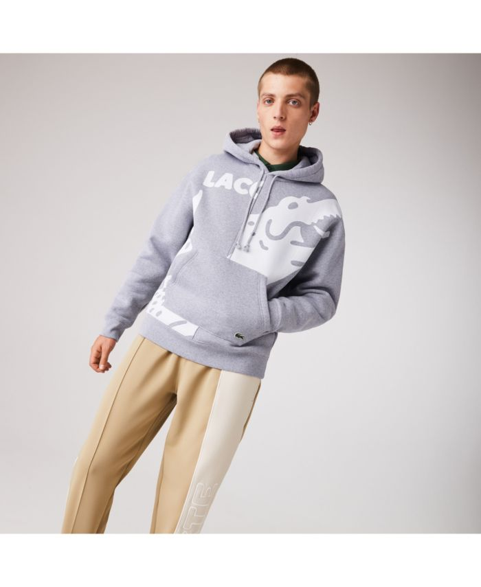 Lacoste Men's LIVE Loose Fit Long Sleeve Colorblock Hoodie with Printed Oversized Croc and Logo Lettering & Reviews - Sweaters - Men - Macy's