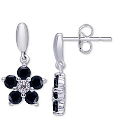 Sapphire Flower Drop Earrings (1-1/2 ct. t.w.) in Sterling Silver