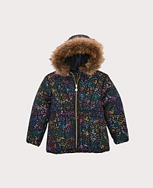 Little Girls Foil Print Puffer Coat