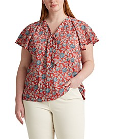 Plus Size Tie-Neck Top