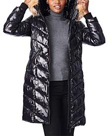 Hooded Faux-Fur-Trim Shine Puffer Coat