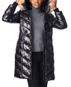 Bernardo HOODED FAUX-FUR-TRIM ANORAK PUFFER COAT