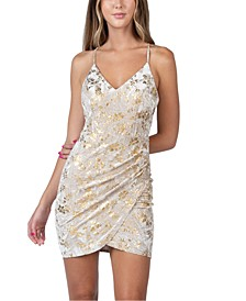 Juniors' Velvet Foil Dress
