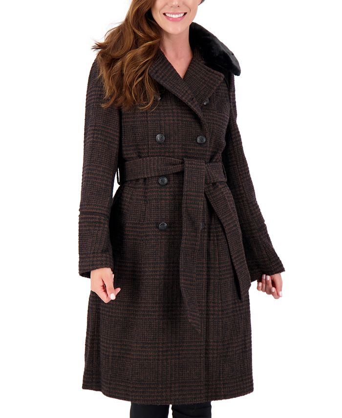 Vince Camuto - Plaid Faux-Fur-Collar Double-Breasted Belted Coat