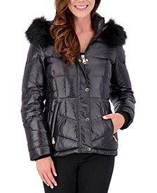 High-Shine Faux-Fur-Trim Hooded Puffer Coat, Created for Macy's