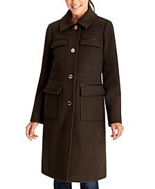 Faux-Leather-Trim Walker Coat