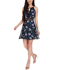 Juniors' Floral Keyhole Dress