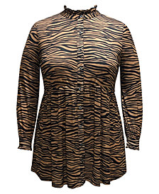 Style & Co Plus Size Animal-Print Mesh Tunic, Created for Macy's