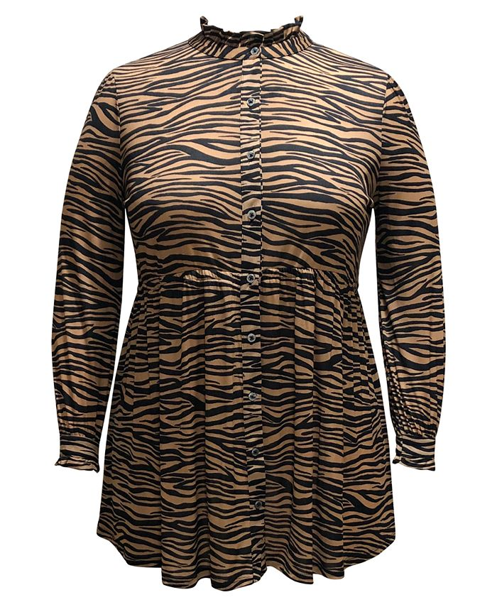 Style & Co - Plus Size Animal-Print Mesh Tunic