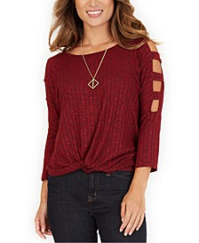 Juniors' Lattice-Sleeve Top