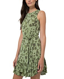 Floral-Print Ruffle-Hem Dress
