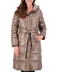 High-Shine Belted Puffer Coat