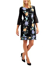 Petite Printed Bell-Sleeve Dress, Created for Macy's