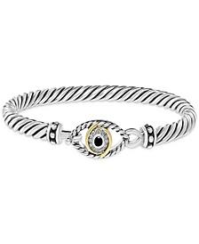 EFFY® Black Diamond Evil Eye Bangle Bracelet (1/6 ct. t.w.) in Sterling Silver & 18k Gold-Plate