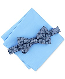Men's Geometric Pre-Tied Bow Tie & Solid Pocket Square Set, Created for Macy's