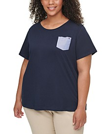 Plus Size Cotton Pocket T-Shirt