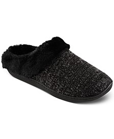 Women's Boucle Sweater-Knit Hoodback Slippers