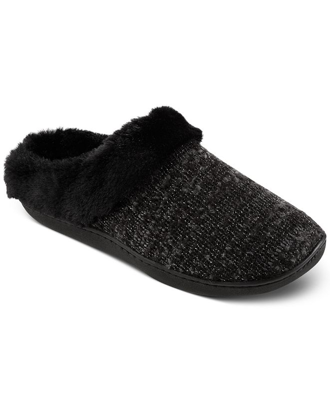 Isotoner Signature Women's Boucle Sweater-Knit Hoodback Slippers