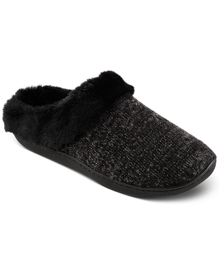 Isotoner Signature - Women's Boucle Sweater-Knit Hoodback Slippers