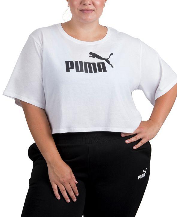 Puma Plus Size Cropped Cotton Logo T-Shirt