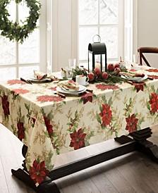 Festive Poinsettia Holiday Rectangle Tablecloth
