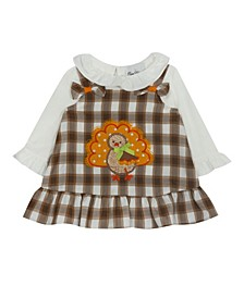 Baby Girls Twill Plaid Jumper with Turkey Applique