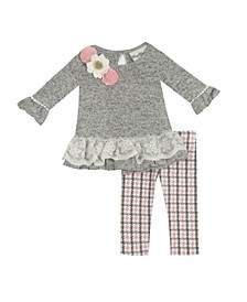 Baby Girls Hacci Set with Flower Trim and Legging