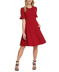 Flounce-Sleeve Dress