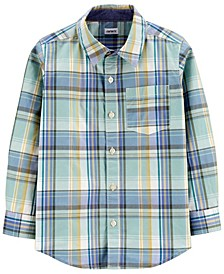 Big Boy Plaid Poplin Button-Front Shirt