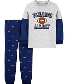 Baby Boy 2-Pc. Football Layered-Look Tee & Jogger Set