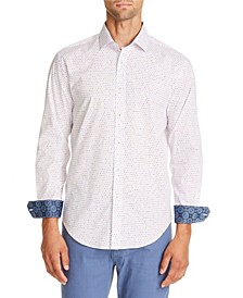 Tallia Men's Slim-Fit White Dot Long Sleeve Shirt and a Free Face Mask With Purchase