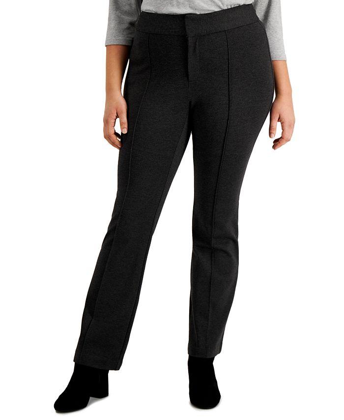 INC International Concepts - Plus Size Ponté-Knit Flare-Leg Trousers