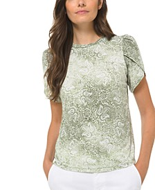 Plus Size Paisley-Print Petal-Sleeve Top