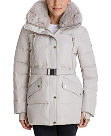 Petite Belted Faux-Fur-Trim Hooded Puffer Coat, Created for Macy's
