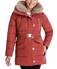 Faux-Fur-Collar Down Puffer Coat, Created for Macy's