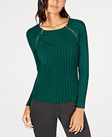 I.N.C Petite Zip-Detail Ribbed Sweater, Created for Macy's