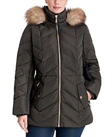 Plus Size Faux-Fur Trim Hooded Puffer Coat, Created for Macy's