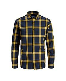 Men's Essential Flat Collar Long Sleeve Check Shirt